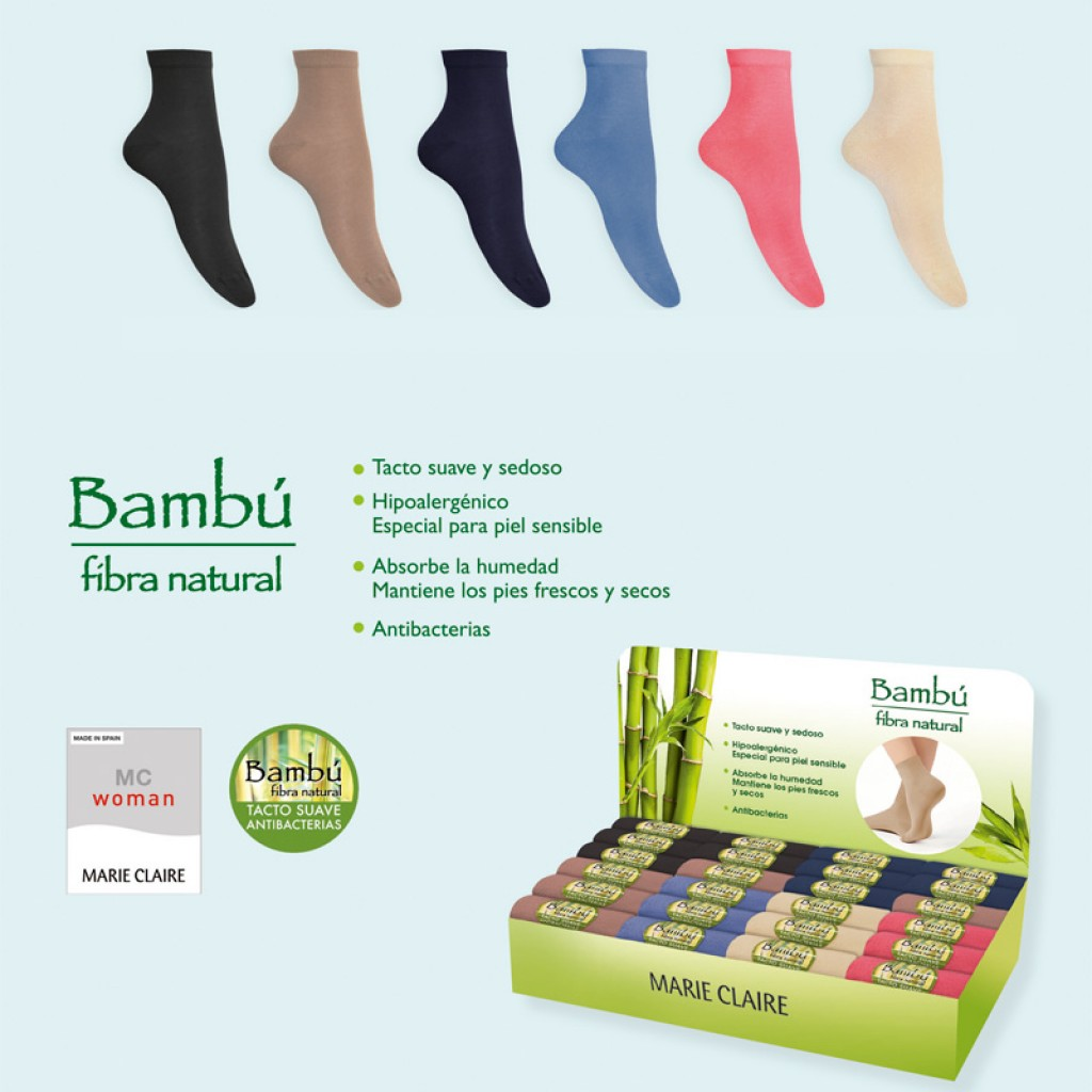 Calcetin Mujer tacto suave bamboo expositor 24 p