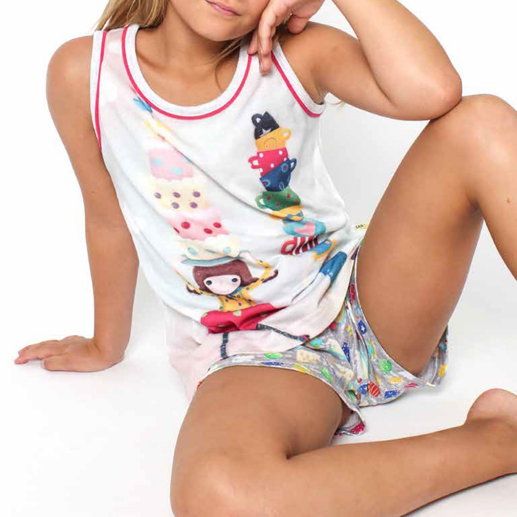 Pijama infantil de tirantes Tea Party