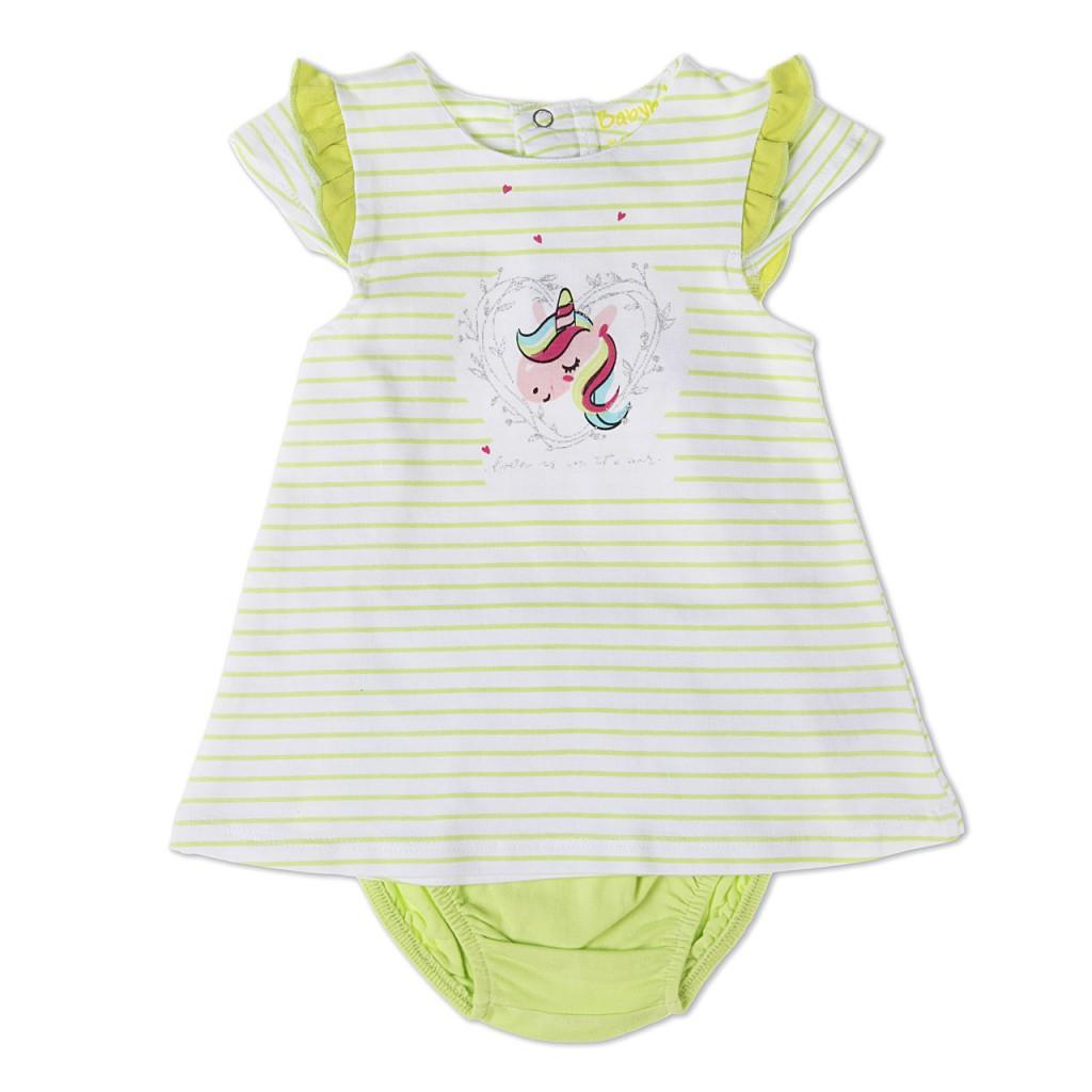 75a14e326 Baby Bol 19164 Vestido bebé unicornio con cubrepañal a juego